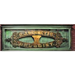 Large, Ornate, Antique R. J. Bennetts, Druggist Sign