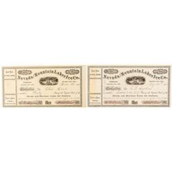 Nevada & Mountain Lakes Ice Co. Stock Certificate Pair Issued to President & Secretary