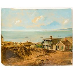 Hand painted photograph of San Francisco Bay & Pioneer Residence