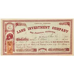 Land Investment Company Stock Certificate