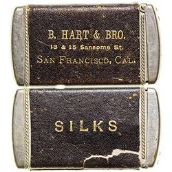San Francisco Silks Advertising Leather & Silver Match Safe