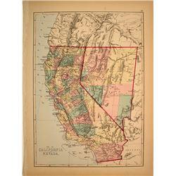 California & Nevada Map c1863