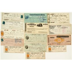 Early California Checks Plus Some Eastern w/ Revenue Stamps