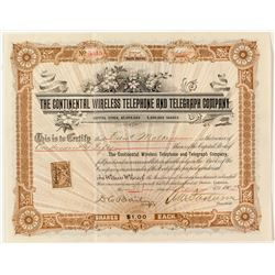 The Continental Wireless Telephone & Telegraph Company Stock Certificate