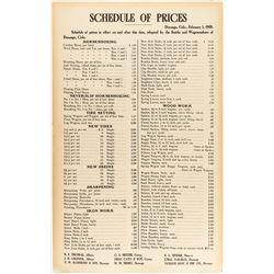 Durango, Colorado Broadside. Blacksmiths' Schedule of Prices 1909