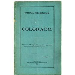 Territorial Booklet: Official Information, Colorado, 1872