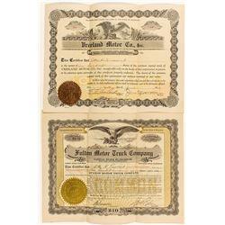 Automobile Stock Certificate Duo
