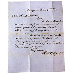 1850s Letter Discussing Gold Dust Sent