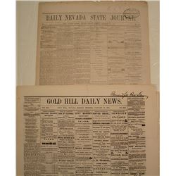 Rare Gold Hill Newspaper from January 27, 1873 and Reno Paper