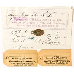 Four Virginia City Items: IOOF Key Tag, Billhead, & Grocery Tags