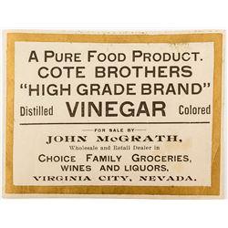John McGrath Virginia City Label