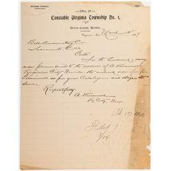 Letterhead for Constable Richard Thomas of Virginia City