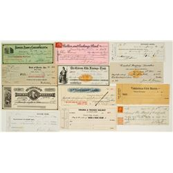 Nevada Check Collection: Virginia City, Carson, and Others