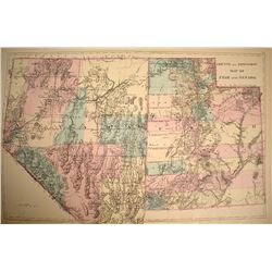 1881 Double Truck Map of Nevada and Utah