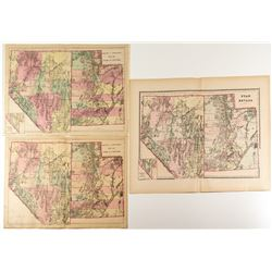Three Different 1880s Double Truck Utah and Nevada Maps