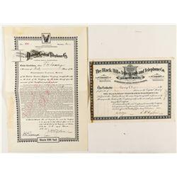 Two Dakota Telegraph and Telephone Stock Certificates (One is Territorial)