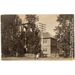 Real Photo Postcard of School at Wellsville