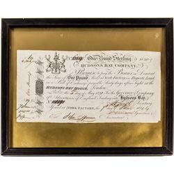 Hudson's Bay Company 1820 One Pound Sterling Certificate