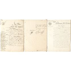 1833 French documents including one to King Louis Philippe