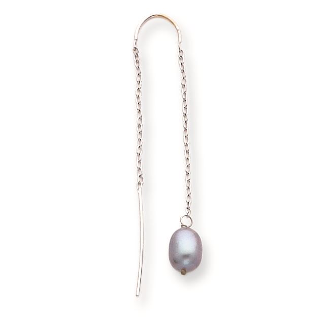 8c07d7a73469a 14K White Gold Black FW Cultured Pearl With U Threader Earrings