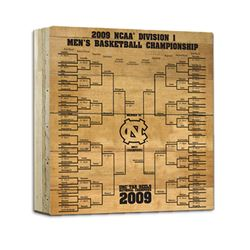 UNC Basketball Engraved 12X12 Bracket Uns