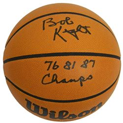 Bobby Knight Signed Wilson NCAA College Basketball W/76, 81, 87 Champs
