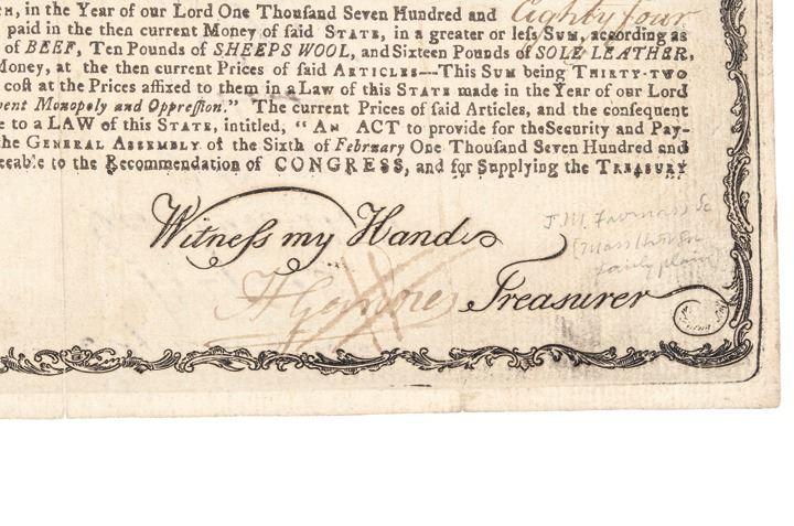 treasury certificate 1780 revolutionary massachusetts anderson bay war ma