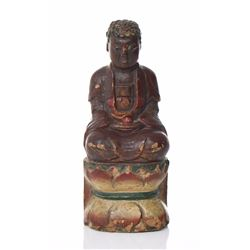 Tibetan Wood Gilt Lacquer Buddha Seated In The