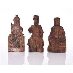 Three Antique Sino Tibetan Painted Carved Wood
