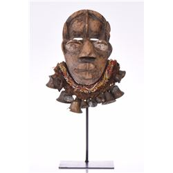 African Dan Runner's Mask, Wood Carved And Ado