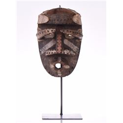 African Tribal Mask, Wood Carved With Nails. B