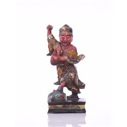 Asian Hand Painted Sculpture Of A Water Deity,