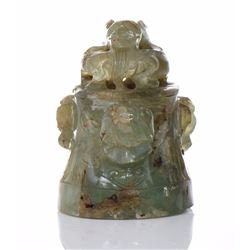 Chinese Translucent Green Onyx Censer Lid/Top.