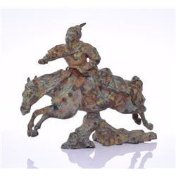 Chinese Metal Sculpture Of A Warrior Rushing I