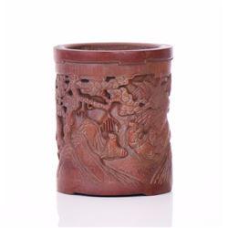 Chinese Elaborately Carved Bamboo Brush Pot, D