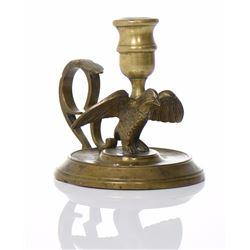 European Brass Eagle Candlestick Holder.   Est