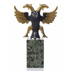 Two Toned Patina Bronze Double Headed Phoenix/