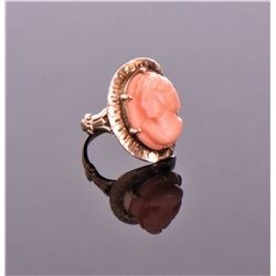 Antique Estate Pink Coral Gold Plated Ring. Ri