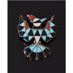 Zuni Handmade Phoenix Bird, Mosaic Inlay Of Bl