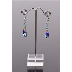 Zuni Stone Mosaic Sterling Silver Earrings, wi