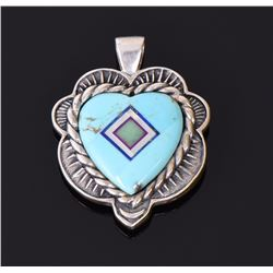 Zuni Heart Shaped Pendant with Mosaic Stone In