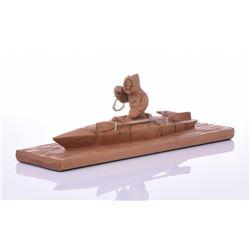 Vintage Carved Wood Inuit Eskimo Hunting Boat,