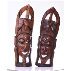 Two Large Tribal Wood Carvings.  Estimated mor