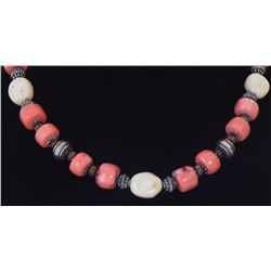 Coral Necklace With Silver And Amber Color Bea