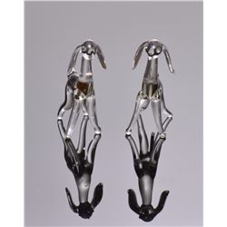 Two silver and glass dog figurines.   Estimate