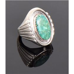 Green Stone Shadow Box Sterling Silver Ring. R