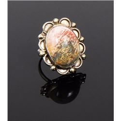 Vintage Oval Blood Stone Sterling Silver Ring.