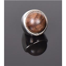 Large Wood Ball Sterling Silver Ring. Ring Siz