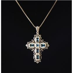 Blue Topaz Sterling Silver Cross Pendant and C