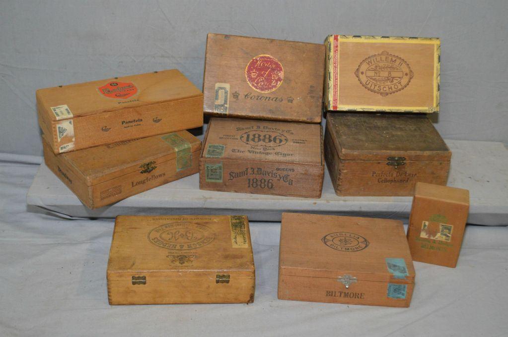 Tray Lot Collectible Wooden Cigar Boxes Samuel Davis Co 1886